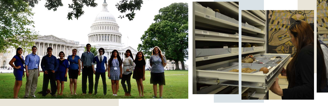Image1: 11 male and female students standing in front of the US Capitol on the lawn; Image2: woman looking into a drawer of a storage unit with many drawers at indiegenous artifacts with a tapestry with beige, black, grey and feather pattern in the background