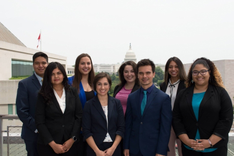 group of native students with the US Capitol in the far background