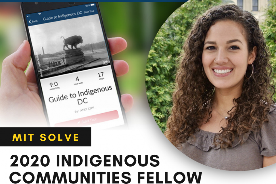 The Guide to Indigenous DC app homepage next to a professional headshot of Dr. Elizabeth Rule.
