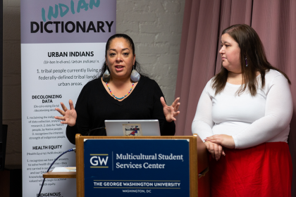 Abigail Echo-Hawk (l) and Annita Lucchesi (r) present their research on missing and slain indigenous women and girls.