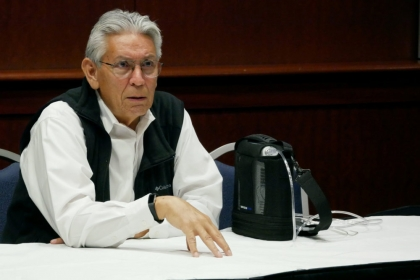 Kevin Gover, the director of the Smithsonian National Museum of the American Indian speaks sitting at a table
